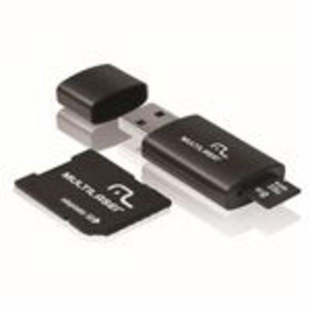 Oferta de Kit 3 em 1 Pen drive + Adaptador SD + Cartão De Memória Classe 4 com Trava de Segurança 8GB Preto Multilaser - MC058 por R$27,9