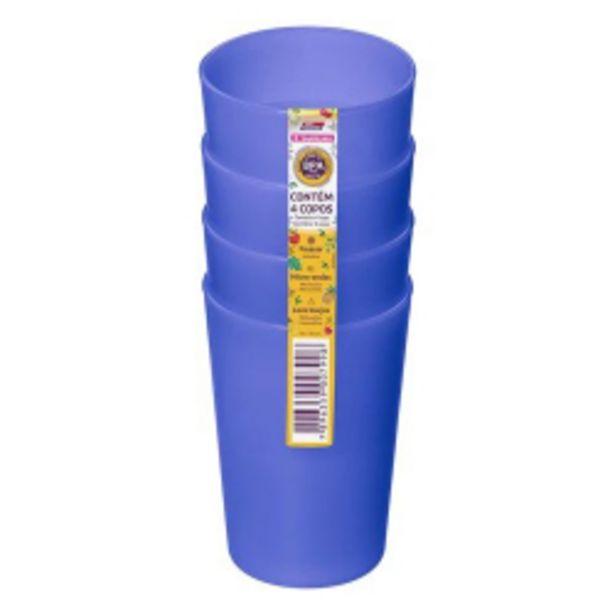 Oferta de Conjunto Com 4 Copos Plásticos Sanremo 270ml por R$9,09