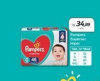 Oferta de Pampers Supersec Hiper  por R$34,89