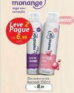 Oferta de Desodorante Aerosol 150 ml Monange por R$8,19