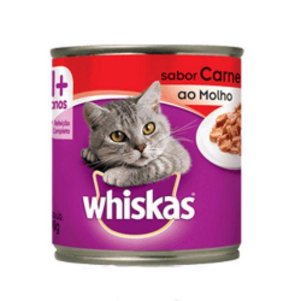 Oferta de Alimento Gatos Lata Whiskas Adultos Carne Molho 290gr por R$8,49