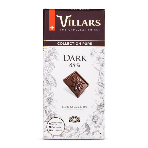 Oferta de Chocolate Dark Suíço Villars 85% de Cacau 100g por R$14,9