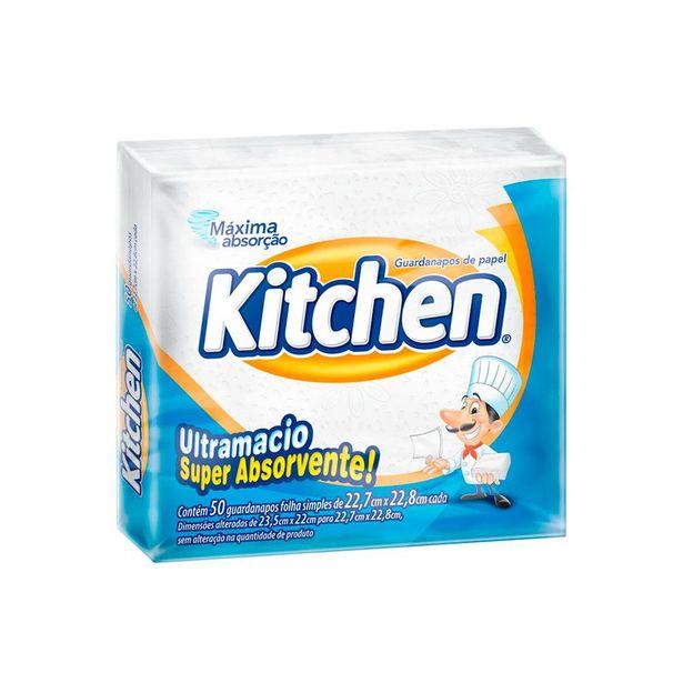 Oferta de Guardanapo Folha Simples Kitchen 22,7 X 22,8 Cm Com 50 Unidades por R$2,29