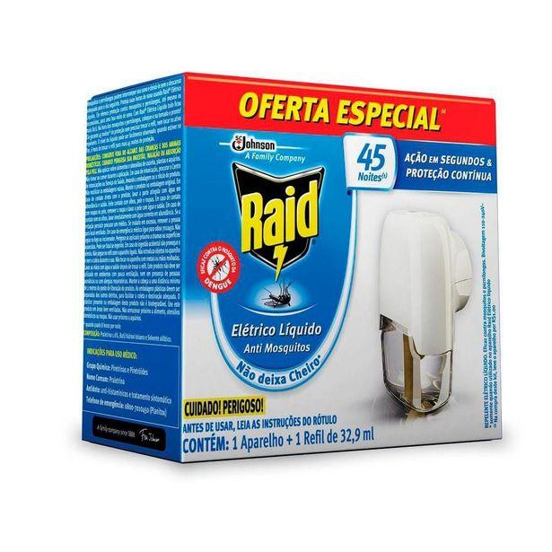 Oferta de Repelente Elétrico Líquido Raid 45 Noites Aparelho por R$10,9