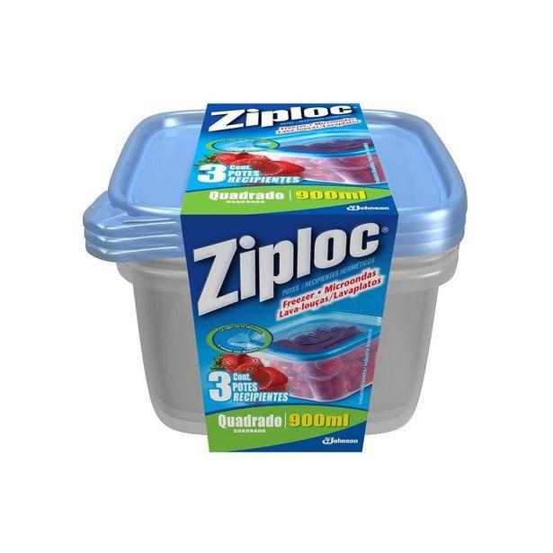 Oferta de Pote Hermético de Plástico Ziploc Quadrado 900 ml 3 Unidades por R$24,99