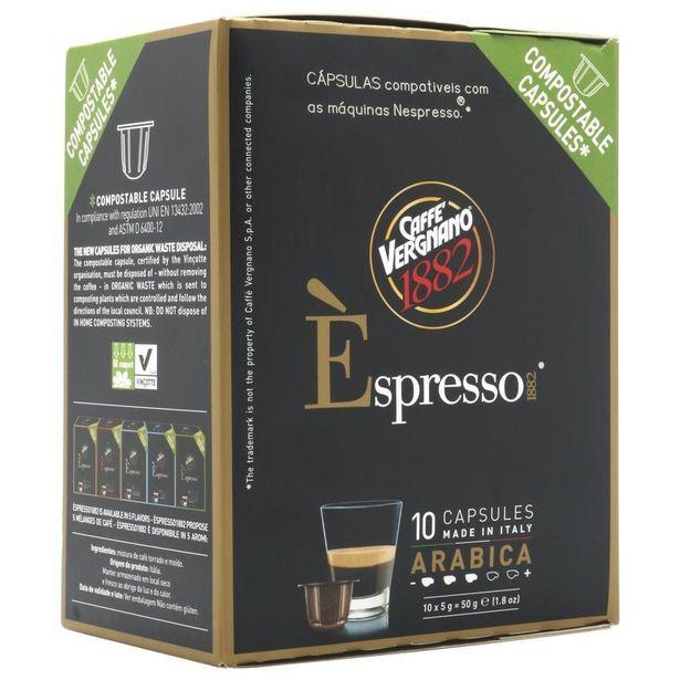 Oferta de Cápsulas de Café Italiano Caffé Vergnano Espresso Arabica Com 10 Unidades 5g Cada por R$19,98