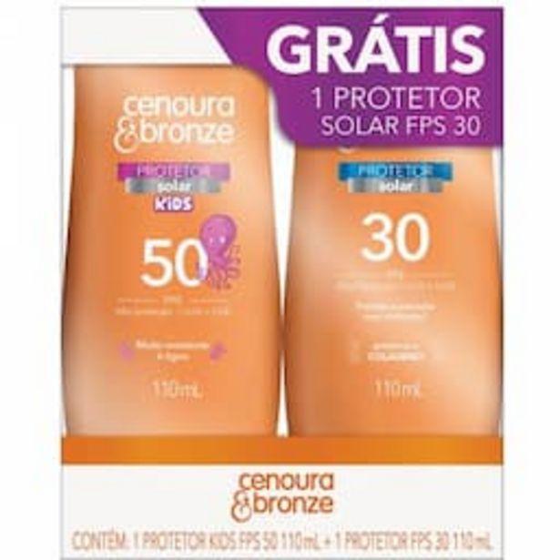 Oferta de Kit Protetor Solar Cenoura & Bronze com 1 Protetor Infantil Kids FPS 50 com 110ml + 1 Protetor Adulto FPS 30 com 110ml por R$41,59
