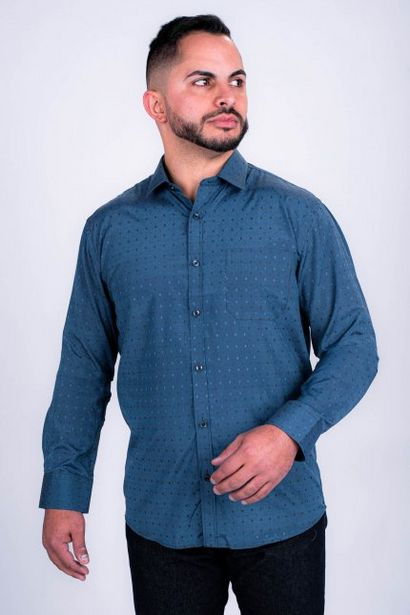 Oferta de Camisa Masculina Manga Longa Azul Petróleo Marinho por R$59,99