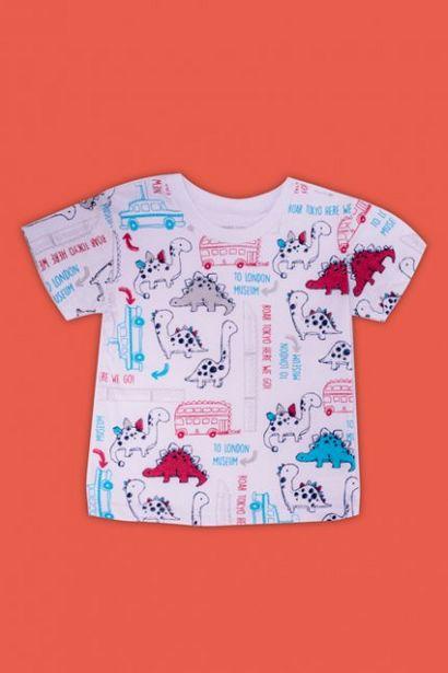 Oferta de Camiseta Bebê Menino Estampada Dinos Branca por R$24,99