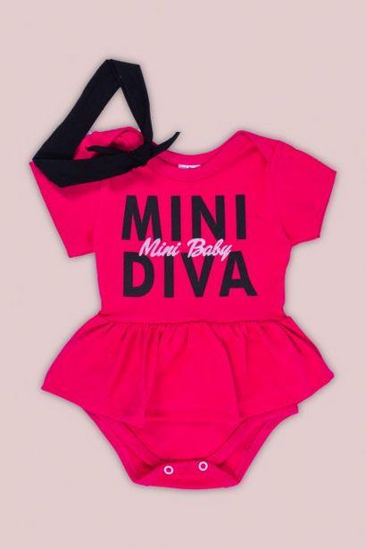 Oferta de Vestido Body Bebê Menina Com Bandana Pink por R$34,99