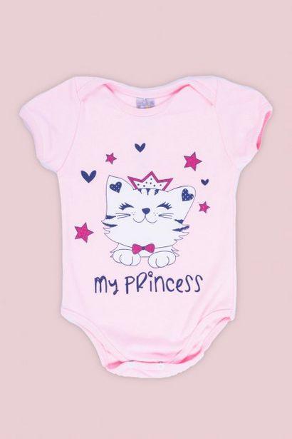 Oferta de Body Bebê Menina Estampado Gatinha Rosa Claro por R$24,99