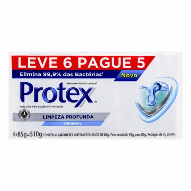 Oferta de Sabonete Protex pack limpeza profunda l6 p5 85g por R$14,99