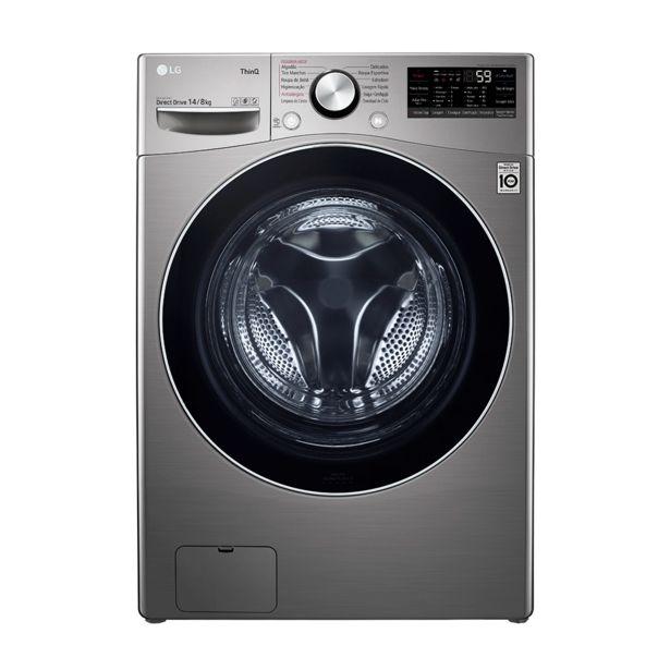 Oferta de Lava e seca Smart LG WD14 14kg, com Inteligência Artificial AIDD   Aço Escovado por R$7199