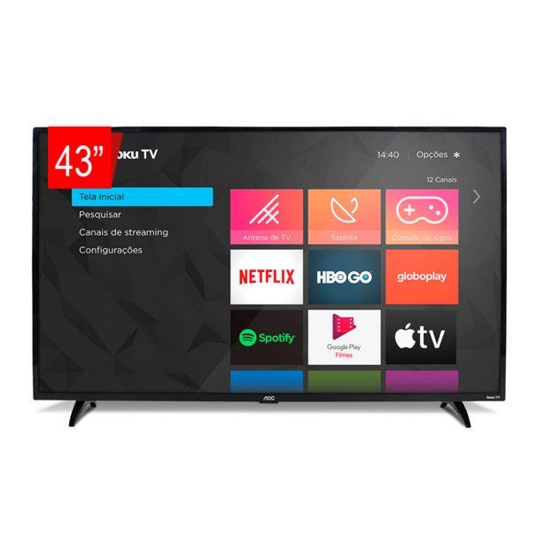 "Oferta de Smart TV AOC 43"" Full HD 43S5195/78G ROKU, HDMI, USB, Conexão Wi-Fi, Conversor Digital por R$2169"