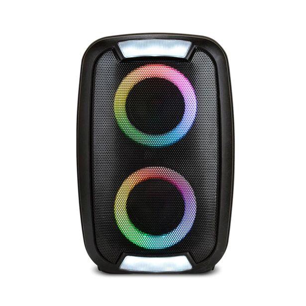 Oferta de Caixa de Som Multilaser Neon 2 Double 250W com Bluetooth, Entradas USB e Cartão de Memória, Controle Remoto, Luzes de LED e Flash |  SP400 por R$339