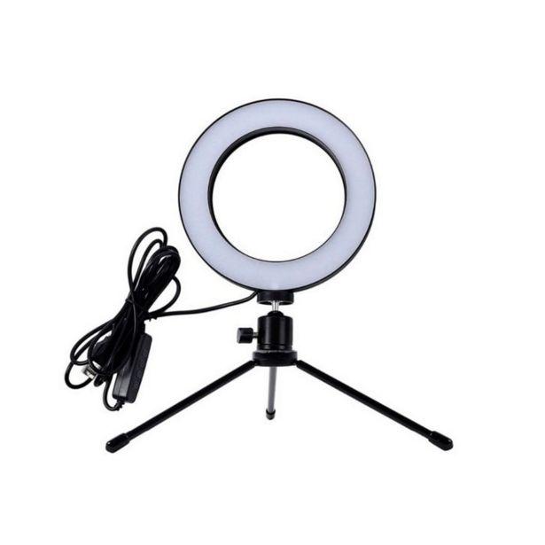 Oferta de Iluminador de Led Ring Light com Tripe 6,5' USB, Temperatura de Cor Ajustável   Preto por R$139,9