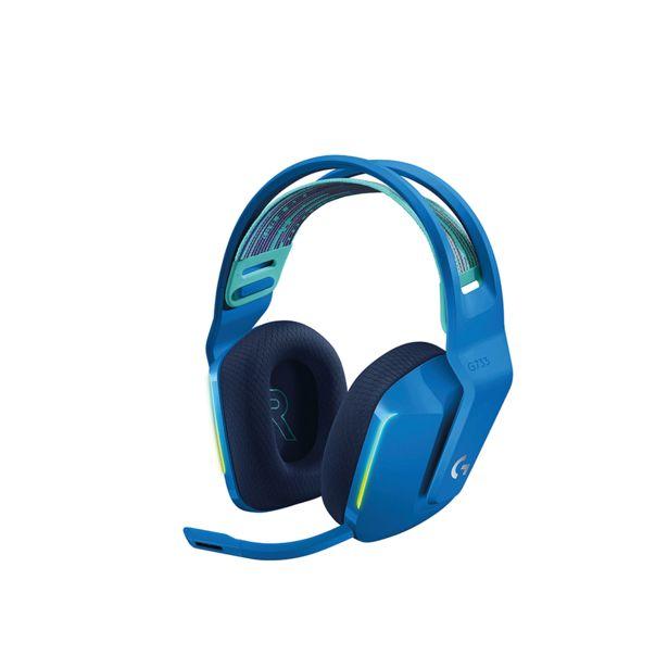 Oferta de Headset Gamer Sem Fio Logitech G733 RGB Lightsync, Surround 7.1 com Blue VOICE   Azul por R$1219