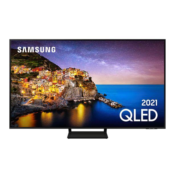 """Oferta de Samsung Smart TV 75"""" QLED 4K, Modo Game, Processador IA, Som em Movimento Virtual, Tela sem limites, Design slim, Alexa built in   Preto por R$11759"""