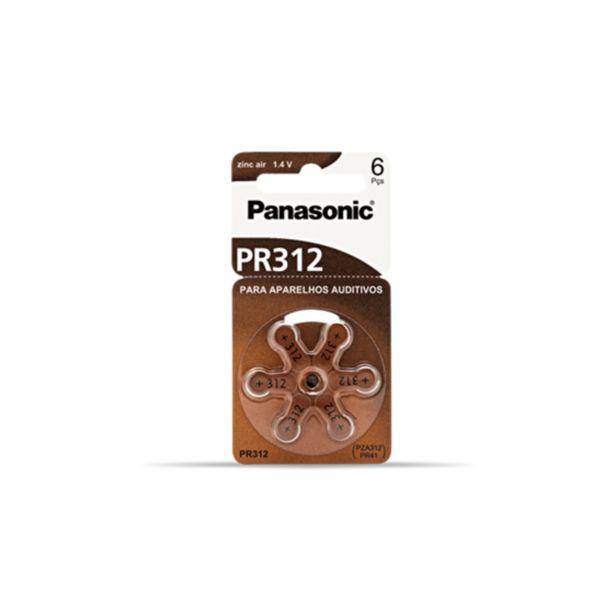 Oferta de Bateria Panasonic PR-312h Para Aparelho Auditivo Com 06 por R$24,9