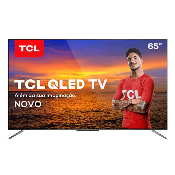 """Oferta de Smart TV QLED 65"""" 4K TCL 65C715 Android, Dolby Vision, HDR10+, Wi-Fi, Bluetooth, Comando de Voz à Distância, Google Assistente   Chumbo por R$5459"""