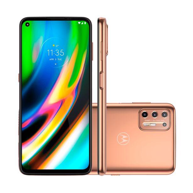 Oferta de Smartphone Motorola Moto G9 Plus XT2087-1 128GB, Android 10, Processador Qualcomm Snapdragon 730G 2.2 Ghz Octa-Core   Ouro Rosè por R$1999