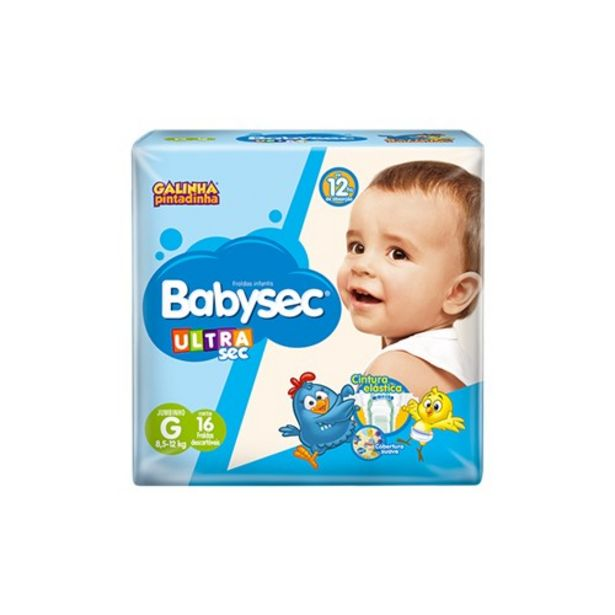 Oferta de Fralda G Babysec Galinha Pintadinha Ultra Pacote 16 Un por R$14,69