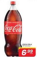 Oferta de COCA-COLA  PET 2,5 litros por R$6,99