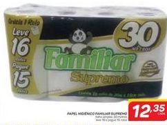 Oferta de Papel Higiênico Familiar Supremo por R$12,35