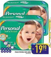 Oferta de Fraldas Personal Baby por R$19,98