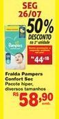 Oferta de Fraldas Pampers confort sec  por R$58,9