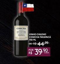 Oferta de VINHO CHILENO COSECHA DE TARAPACÁ 750 ML por R$39,9