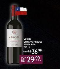 Oferta de VINHO CHILENO HEROES SANTA RITA 750 ML por R$29,99