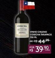 Oferta de VINHO CHILENO COSECHA TARAPACÁ 750 ML por R$39,9