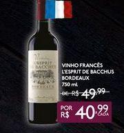 Oferta de VINHO FRANCÊS L'ESPRIT DE BACCHUS BORDEAUX 750 ml por R$40,99