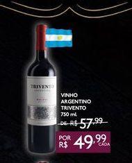 Oferta de VINHO ARGENTINO TRIVENTO 750 ml por R$49,99