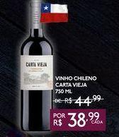 Oferta de VINHO CHILENO CARTA VIEJA 750 ML por R$38,99