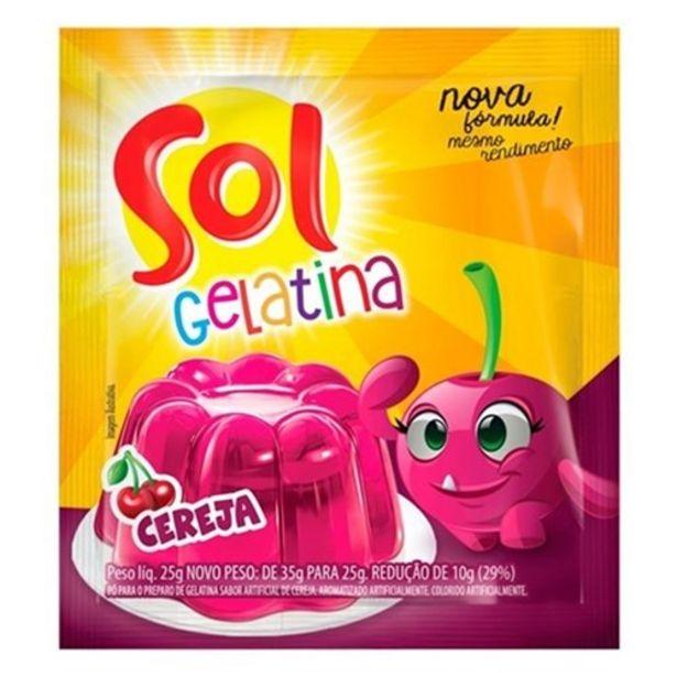 Oferta de Gelatina Sol Cereja Sachê 25G por R$1,09