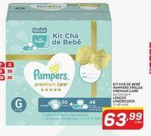 Oferta de Kit chá de bebê pampers fralda premium care + lenços umédecidos por R$63,99