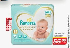 Oferta de Fraldas Pampers premium care mega (tamanhos) 36 un por R$56,99