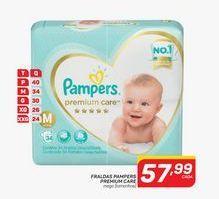 Oferta de Fraldas Pampers premium care 36 un por R$57,99