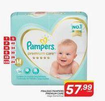 Oferta de Fraldas Pampers premium care mega (tamanhos)  por R$57,99