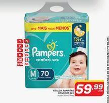 Oferta de Fraldas Pampers confort sec hiper (tamanhos) por R$59,99