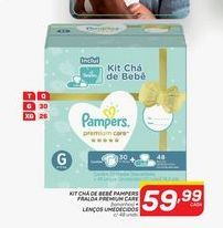 Oferta de Kit chá de bebê pampers fralda premium care + lenços umédecidos por R$59,99