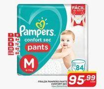 Oferta de Fraldas Pampers pants confort sec mega por R$95,99