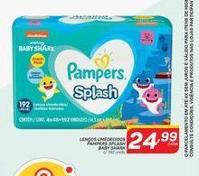 Oferta de Lenços umedecidos Pampers splash baby shark c/192 unidades por R$24,99