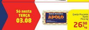 Oferta de Queijo Muçarela Apolo Peça kg por R$26,98