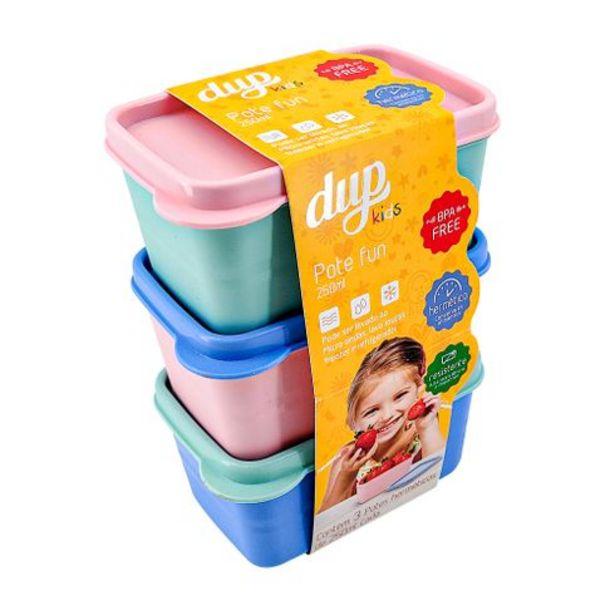 Oferta de Jogo 3 peças de potes herméticos 250ml cada Dup Kids por R$17,99