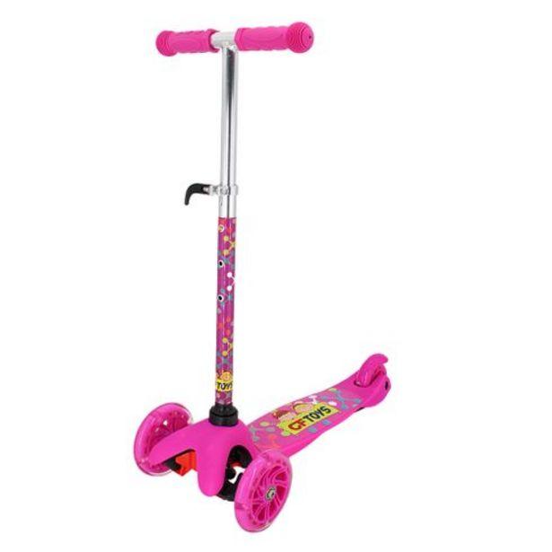 Oferta de Patinete dobrável 3 rodas led  56,5x44,5x37cm rosa CF TOYS por R$189,99