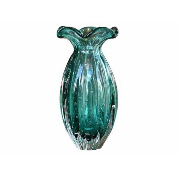 Oferta de Vaso Frufru grande esmeralda cristal São Marcos por R$405,9