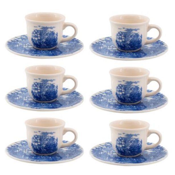 Oferta de Jogo 06 xícaras para café com pires cena inglesa Oxford por R$69,99